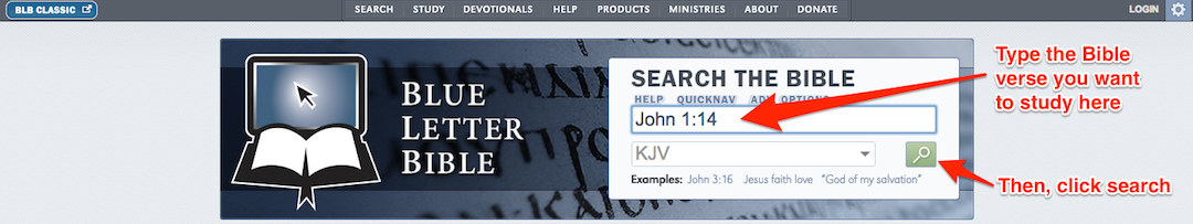 Blue Letter Bible Tutorial: Select Verse to Study