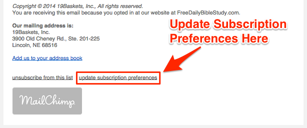 Update Subscription Preferences