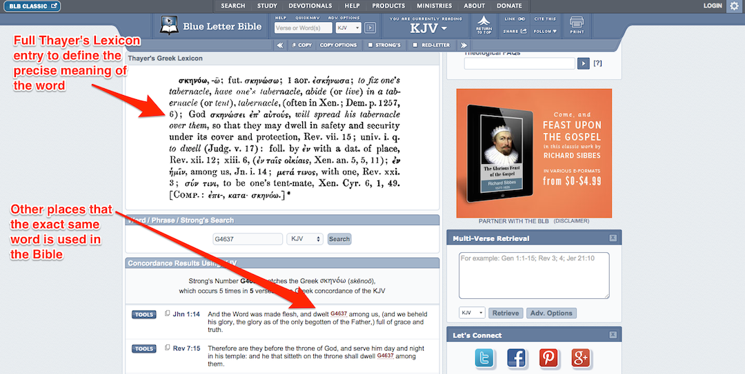 Blue Letter Bible Tutorial: Lexicon and Concordance